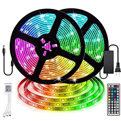LED Strip Lights, Starlotus Waterproof 32.8ft/10M LED Light Strip SMD5050 300Leds RGB Color Changing LED Strips with 44 Keys IR Remote Controller and 12V Power Supply for Indoor and Outdoor Lighting