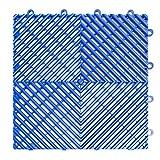 RaceDeck Free-Flow Open Rib Design, Durable Interlocking Modular Garage Flooring Tile (48 Pack), Bright Blue