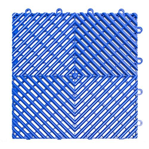 RaceDeck Free-Flow Open Rib Design, langlebig, ineinandergreifend, modularer Garagenbodenbelag (einzelne Fliese), schwarz 24 Pack leuchtendes Blau
