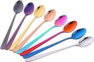 Do Buy 8 Pieces 8 Inch 18/10 Iced Tea Spoons,Long Handle Mixing Spoon (multicolor)