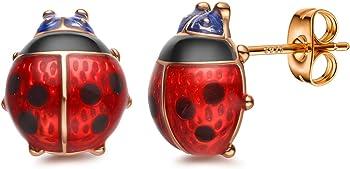 Red Ladybug Black Spots 18K Gold Plated Flower Stud Earrings