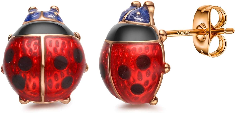 Stud Earrings, Red Ladybug Black Spots 18K Gold Plated 925 Sterling Silver Post Rose Flower Stud Earrings for Women and Girl