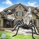 Halloween Decorations, 2Pcs 50'' Giant Spider + 200'' Triangular Spider Web and 100'' Round Spider Web, with Hook, Stretch Web and Ground Stakes for Indoor Outdoor Halloween Decor Haunted House Props