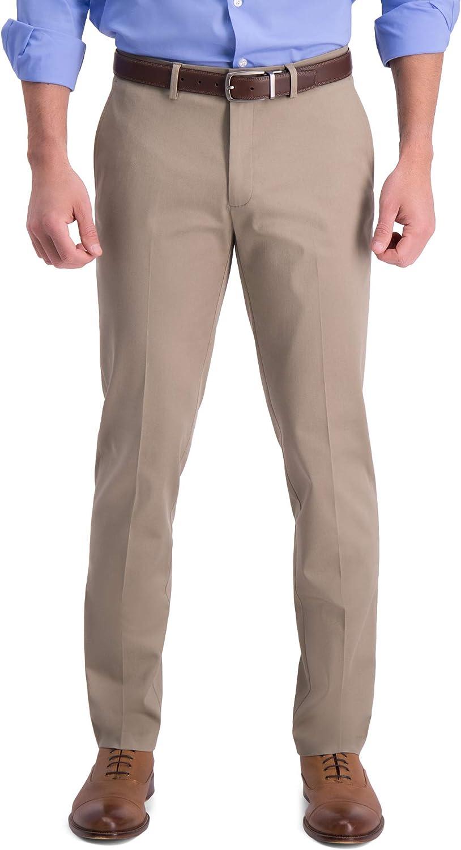 Haggar Men's Iron Free Premium Slim-Straight Fit Khaki Flat OFFicial store Reservation Fron