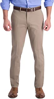 Haggar Men's Iron Free Premium Khaki Slim-Straight Fit Flat Front Flex Waist Casual Pant