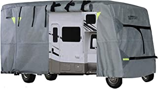 iiSPORT Extra Thick 4-Ply Top Panel Class C Motorhome Cover Fits 29'-32' RVs Zippered Adjustable Rear & Front Covers with Storage Bag, Snug-fit Elastic Hem, Strap & Buckle System