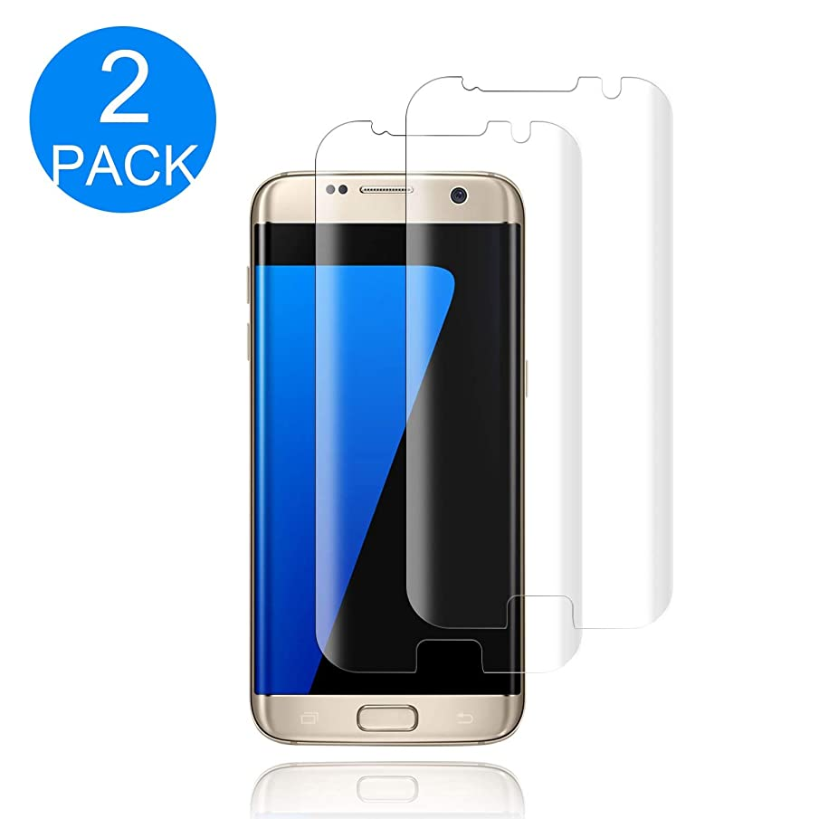 [2-Pack] Galaxy S7 Edge Tempered Glass Screen Protector,[9H Hardness] [Anti-Fingerprint] [Bubble-Free] HD Screen Protector Compatible with Samsung Galaxy S7 Edge.