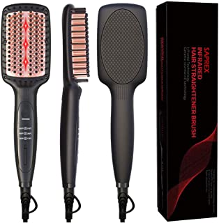 Hair Straightener Brush Ceramic Heating,Hair Straightener Hair Iron Professional Fast Universal Voltage Ceramic Electric Hair Straightening Brush Styling Tool #BlackWhite