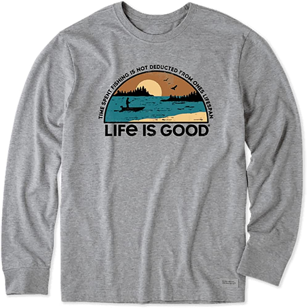 Life is Good. Men's Time Spend Fishing Landscape LS Crusher Tee, Heather Gray