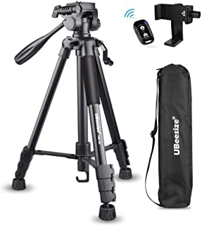 UBeesize 60-inch Camera Tripod, 5kg/11lb Load TR60 Load Portable Lightweight Aluminum Travel Tripod with Carry Bag & Bluet...