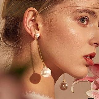 YERTTER Women Vintage Gold Pearl Statement Dangle Earrings Long Big Pearls Drop Earrings for Women Girls