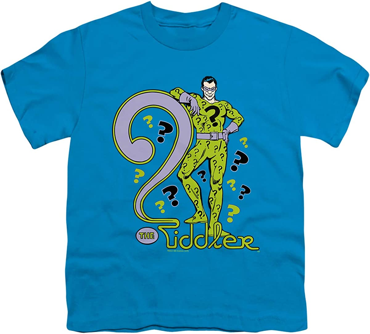 DC The Riddler Unisex Youth T Shirt, Turquoise, X-Large