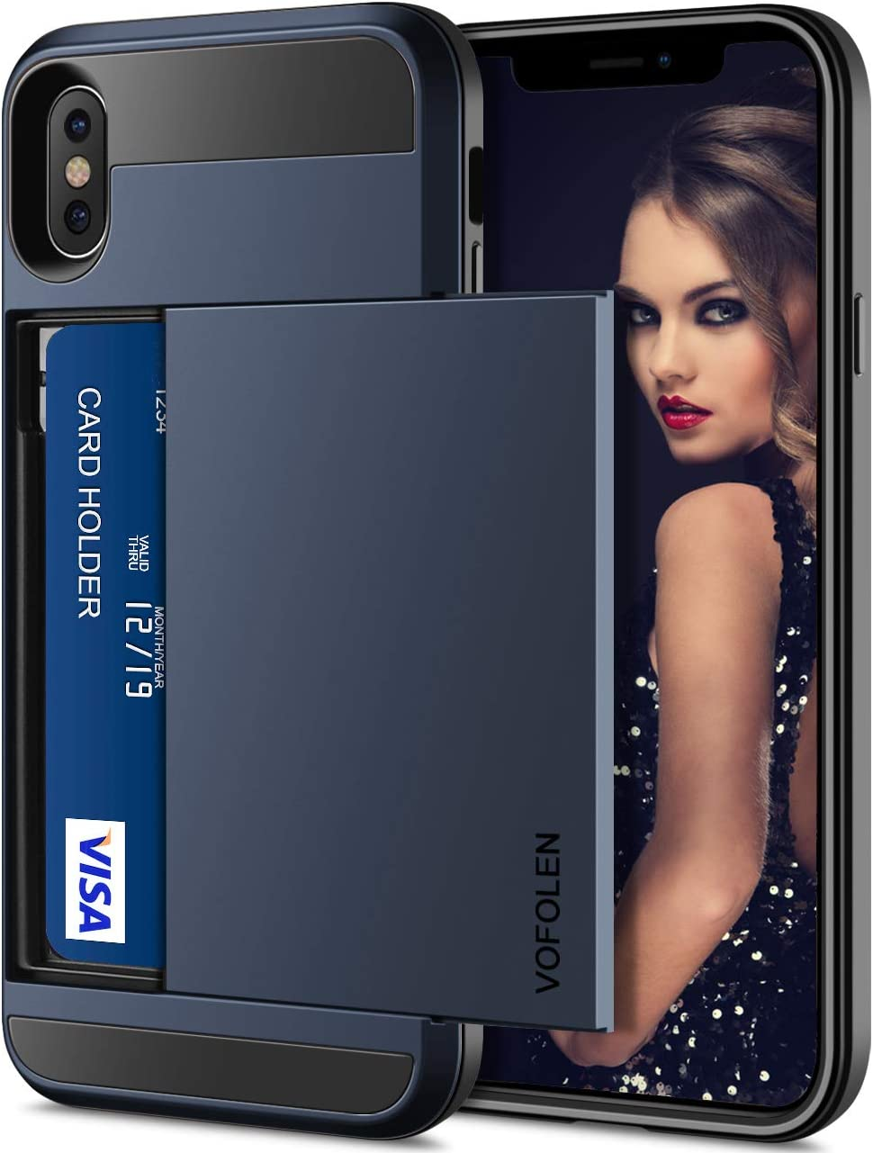 Vofolen Case for iPhone Xs Max Case Wallet Card Holder Sliding Cover Credit Card Slot ID Pocket Dual Layer Protective Hard Shell Hybrid TPU Bumper Armor Case for iPhone Xs Max 10S Max (Navy)