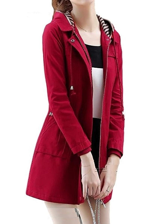 [Nana_Collection(ナナコレクション)] 春 ウェストシェイプ 美ライン フード ジッパー ジャケット コート 女性