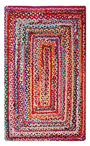 Second Nature Online Sundar - Alfombra trenzada (60 x 90 cm, tejido a mano con tela reciclada multicolor