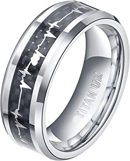 TIGRADE 6mm 8mm Titanium Rings Heartbeat Cardiogram Black Carbon Fiber Engagement Wedding Band