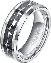 TIGRADE 6mm 8mm Titanium EKG Heartbeat Rings Cardiogram Black Carbon Fiber Engagement Wedding Band