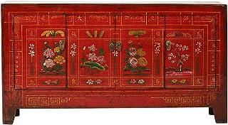 Yajutang - Aparador de estilo antiguo de China (4 puertas pintado) color rojo