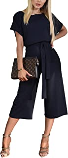 Women Short Sleeve Casual Loose Fit Long Pant Jumpsuits Romper with Belt