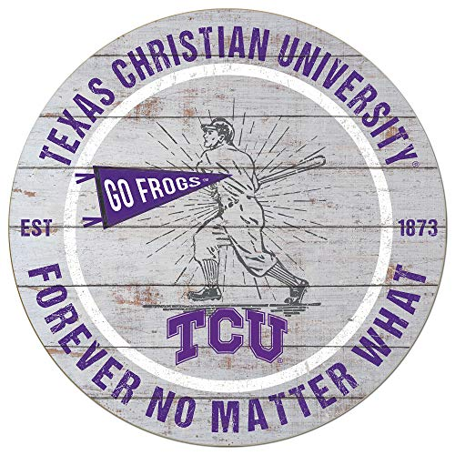 KH Sports Fan 20x20 Weathered Circle - Throwback Texas Christian Horned Frogs Baseball