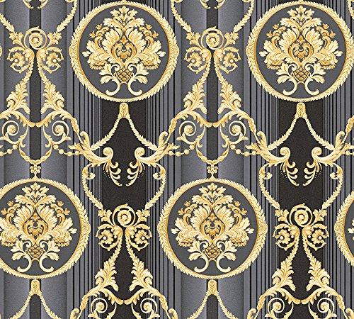 A.S. Création Vliestapete Hermitage 10 Tapete klassisch neo-barock 10,05 m x 0,53 m grau metallic schwarz Made in Germany 330836 33083-6