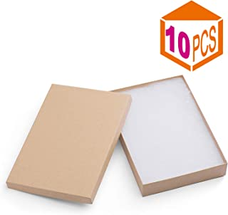 MESHA Cardboard Paper Box for Jewelry and Gift 8x5.5x1.25 Inch Thick White Paper Box With Cotton Lining (Brown-10Pcs)