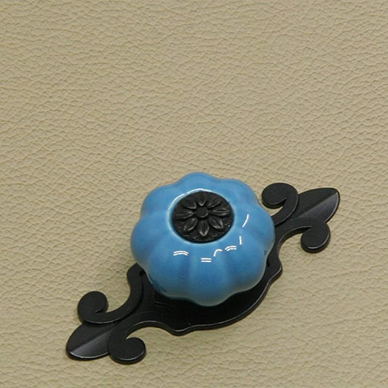 Handle 5PCS Pumpkin Ceramic Knobs Vintage Cabinet Door Drawer Cupboard Dresser Pull Handle Kitchen Furniture Kids Room Color Blue Size 32mm
