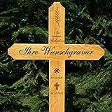 LASERfein Grabkreuz groß, Holzgrabkreuz mit Gravur, 150x60cm