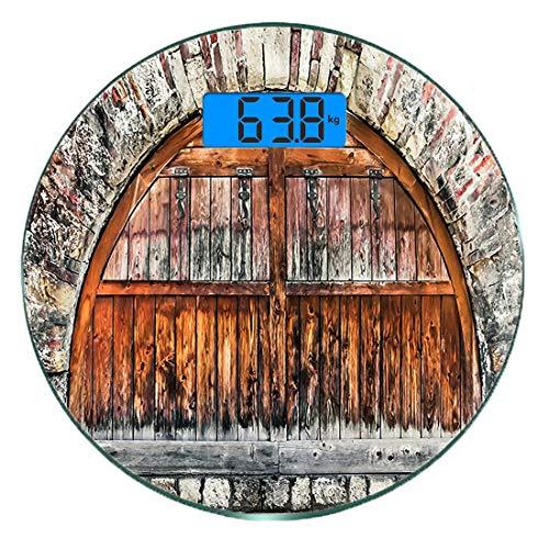 Digitale Präzisionswaage für das Körpergewicht Runde Rustikal Ultra dünne ausgeglichenes Glas-Badezimmerwaage-genaue Gewichts-Maße,Fotografie von einem Backstein-Wall mit ovalem Tor mit datierten alte