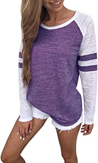 Makulas Sweatshirts for Womens Crew Neck Pullover Patchwork Stripe Long Sleeve Tunics Casual T-Shirt Loose Blouse Comfy Tops
