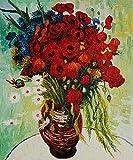 TTZJY Pintura por Números para Adultos y Niños DIY Pintura al óleo Kit ,con 3 Pinceles y Pinturas Acrilicas Decoraciones para el Hogar 16x20 Pulgadas/40x50cm (Sin Marco) Amapolas Rojas