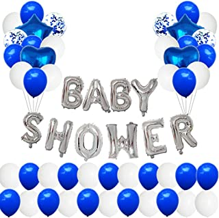 Baby Shower Decorations Set |Party Supplies Kit| Confetti, Ribbons, Glue dot, decoration set boys and girls. (Blue-White)