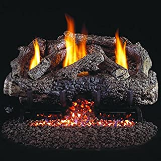 Peterson Real Fyre 18-inch Charred Frontier Oak Log Set With Vent-free Natural Gas Ansi Certified G10 Burner - Basic On/Off Remote