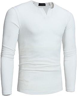 Hattfart Mens Pullover Sweater Slim Comfortably Knitted V-Neck Long Sleeve Solid Color