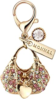 MC88 New Arrival Crystal 3D Handbag Lobster Clasp Charm Pendant with Pouch Bag (1 Piece)
