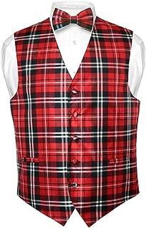 Men's Plaid Design Dress Vest & Bowtie Black Red White Bow Tie Set