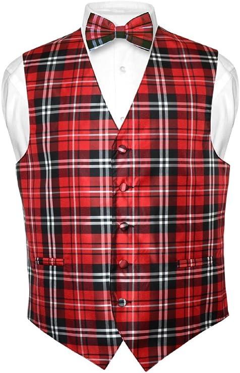 Men's Vintage Vests, Sweater Vests Mens Plaid Design Dress Vest & BOWTie Black Red White BOW Tie Set  AT vintagedancer.com