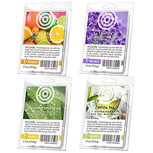 I & Candle, (Set of 4) Orange & Citrus / Lavender / Citronella & Lemongrass / White Tea Aromatherapy Wax Melts. 100% Soy Wax Non-GMO. Made in the USA