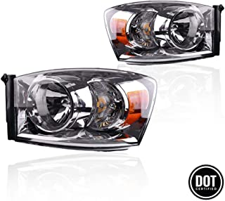 Headlights Assemby for 2006-2008 Dodge Ram 1500 2006-2009 Ram 2500 3500 Passenger and Driver Side Chrome Housing Amber Refector Clear Lens Headlamps Replace 68003125AB, 68003124AB