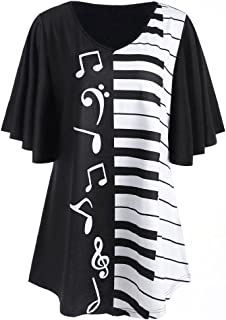 2019 Newest Women T-Shirt Fashion Casual Beautiful Musical Notes Print Stripe Patchwork Short Sleeve Blouse Tops by Fulijie