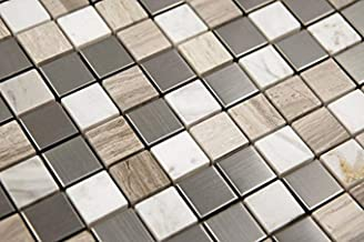 Interlocking Stainless Steel + Stone Mix Mosaic - Sonoma Tile (5-Sheets) Kitchen, Bathroom, Deck and Patio Flooring | Indo...