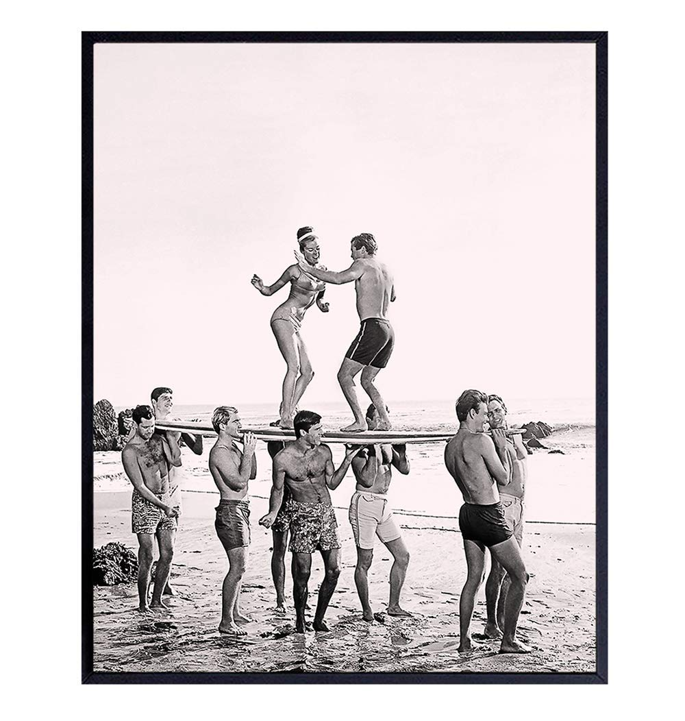 Surfers Dance Max 52% OFF Party Vintage Style Wall Quality inspection 8x10 Ho Art Photo Retro -