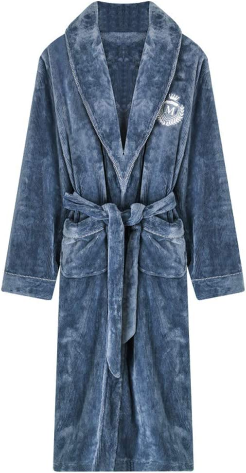 TANGIST Plush Men Casual Coral Fleece Robe Softy Nightdress Winter Warm Kimono Bathrobe Gown Sleepwear Super Soft Flannel Nightwear,XL (Size : Click to Select XXXL)