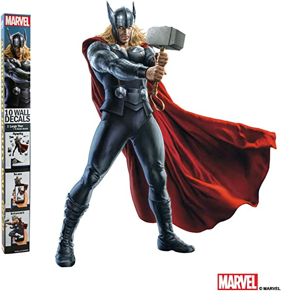 MARVEL THOR VINYL STICKERS 10 Piece Augmented Reality Marvel Stickers For Kids Rooms Kids Wall Decals For Bedroom Are Easy To Put Up On Wall Peel Off Best Bedroom D Cor For Kids