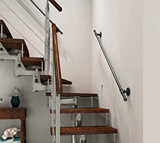 DIYHD 5FT 2 Wall Support Industrial Black Iron Loft Pipe Handrail for Stairs,Rustic Black,Straight Style