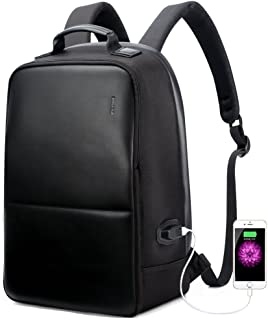 """Bopai Luxury Style Leather & Microfibre Anti-Theft Business and Travel with USB Charging Backpack B4501 Black 15.6"""" Laptop"""
