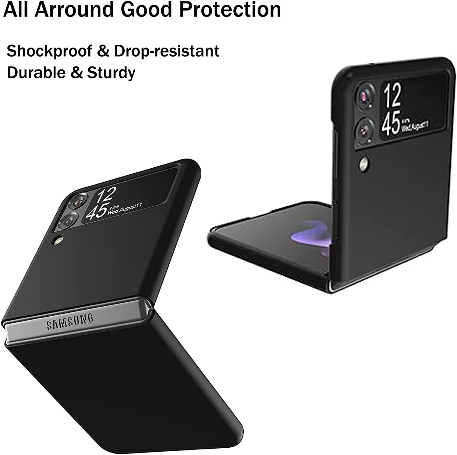 Slim Case for Samsung Galaxy Z Flip 3, Ultra Thin Lightweight Cover Durable Anti-Drop Wear-Resistant Hard PC Shell with Non-Slip Grip Protective Phone Defender for Samsung Z Flip 3 5G 2021 - Black
