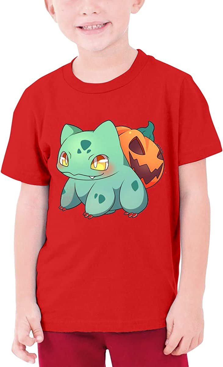 Fashion Bulbasaur Boy Girl Sports Short Sleeve Tee Kids Unisex T-Shirt Top Red