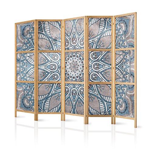 murando - Paravent XXL Mandala 225x171 cm 5-teilig einseitig eleganter Sichtschutz Raumteiler Trennwand Raumtrenner Holz Design Motiv Deko Home Office Japan p-C-0010-z-c