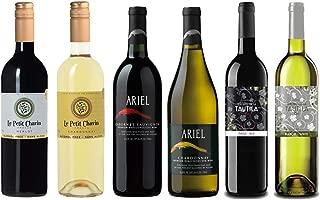 Red/White Wine Sampler -Six (6) Non-Alcoholic Wines 750ml Each - Featuring Ariel Cabernet Sauvignon, Ariel Chardonnay, Le Petit Merlot, Le Petit Chardonnay, Tautila Tinto, Tautila Blanco.